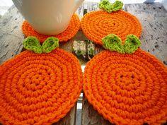 Orange #crochet coasters