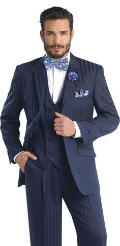 Formal Shadow Striped Navy Mens' Suit Style 3 Piece Blazer, Double Breast Vest and Matching Men's Pants Wear. Bright Shadow Men's Navy Vest: Double Breasted. Mens Navy Shadow Striped Jacket Detailed Pockets 2 Buttons.   eBay!