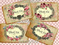 Thank You Tags No7 3x5 Digital Download by CountryAtHeart2008, $4.99