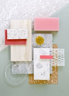 Weekly material mood 〰 Pastel Combo and Travertine #glass #travertine #dustygreen #foam #velvet #cork #wool #pink #net #rubber #terrazzo #pastels #grey #colour #design #material #mood #moodboard #studiodavidthulstrup