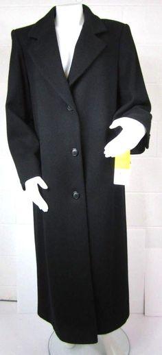 a80266262b Forecaster Of Boston Womens Virgin Wool Coat Size 10 Full Length Black  Lined NWT
