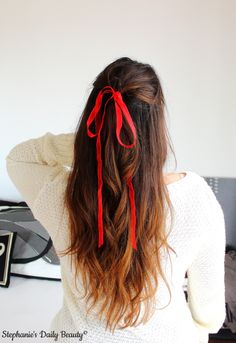Valentine's Day Hair | Stephanie's Daily Beauty #hair #hairstyle #romantic #curls #updo #ribon