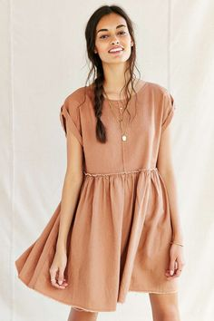 Urban Renewal Remade Raw Edge Linen Babydoll Dress - Urban Outfitters