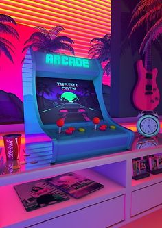 'Arcade Dreams' Poster by dennybusyet Aesthetic Nostalgia, A Retro Design That inspired by synthwave music scene. Synthwave expresses nostalgia from / culture ( Films, Video Games, Cartoon ) , attempting to capture the era's atmosphere. Purple Aesthetic, Retro Aesthetic, Aesthetic Photo, Aesthetic Pictures, Aesthetic Rooms, Aesthetic Fashion, Aesthetic Clothes, Vaporwave, New Retro Wave