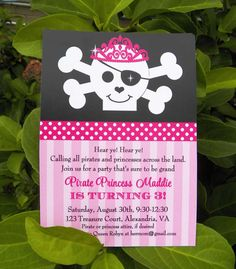 Princess and Pirate Invitation Beautiful Princess Pirate Party Adventure that Party Chick Girls Pirate Parties, Sibling Birthday Parties, Pirate Birthday Cake, Princess Birthday, Princess Party, 3rd Birthday, Birthday Party Invitations Free, Party Themes, Party Ideas