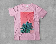 Tropical Palm Glitch Miami Aesthetic Vaporwave Art Skateboarding Internet Tumblr Art Mens Unisex Tee Short Sleeve T-shirt