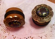 Navy Floral Gold Filigree on Wooden Gauges Plugs 1 by brittnaayx3, $25.99