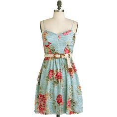 Lace in the Sun Dress ($26) ❤ liked on Polyvore featuring dresses, vestidos, floral, modcloth, floral dress, lacy dress, sundress dresses, floral sun dress y green floral dress