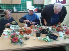 Our Sandwell art group busy getting creative with their Christmas wreaths. #Christmas #Arts #Crafts