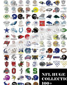 Photo of 120 NFL Logos Helmets Machine Embroidery Designs for 4x4 Hoop All formats availabe