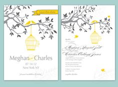 Birdcage Wedding Invite....like this too change the color, would need to incorporate bird cages though