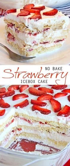 Looking for a quick and easy Spring/Summer dessert recipe? Try out delicious No … Looking for a quick and easy Spring/Summer dessert recipe? Try out delicious No Bake Strawberry Icebox Cake ! Easy Strawberry Desserts, Strawberry Icebox Cake, Easy Summer Desserts, Summer Dessert Recipes, Desserts Printemps, Yummy Recipes, Icebox Cake Recipes, Bon Dessert, Baked Strawberries