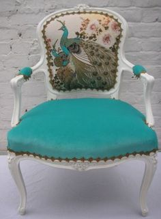 Image detail for -Peacock chair This may seem like a strange addition to an art studio, but my business logo is a peaock Chair Redo, Chair Makeover, Furniture Makeover, Funky Furniture, Unique Furniture, Painted Furniture, Retro Office Chair, Fancy Chair, Graphisches Design