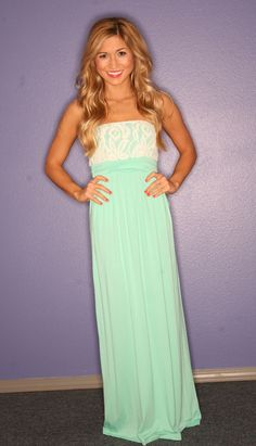 Lace Engagement Strapless Maxi in Mint