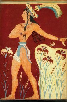 Autore Sconosciuto. Principe dei Gigli, affresco minoico realizzato attraverso la pittura parietale nel palazzo di Cnosso, 1550 a.C. circa, scoperto da Arthur Evans. L'originale si trova oggi nel Museo archeologico di Heraklion, Candia, Grecia.