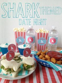 Shark themed date night! A date your guy will love as much as you will. Eat shark themed food, decorate victim sugar cookies and watch Shark Week or JAWS!