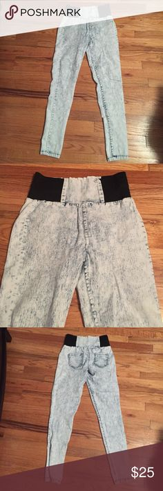 High waisted stone washed denim Super comfy, soft and stretchy high waisted jeans. Size medium. Boom Boom Jeans Jeans Skinny