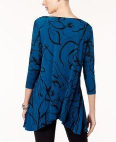 Alfani Printed Swing Top, Created for Macy's - Purple XXL
