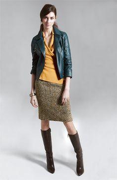 John Carlisle Leather Jacket & Nic + Zoe Skirt + Stuart Weitzman 'Skyline' Boot (Nordstrom Exclusive)
