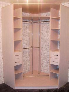 Corner wardrobe closet ideas – Decor Units - All About Corner Wardrobe Closet, Wardrobe Design Bedroom, Bedroom Wardrobe, Bedroom Decor, Bedroom Ideas, Diy Wardrobe, Closet Layout, Bedroom Cupboards, Closet Designs