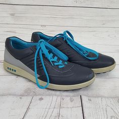 ECCO Street Evo One Golf Shoes Midieval Blue Grey Leather Mens Size 45 11/11.5 #ECCO