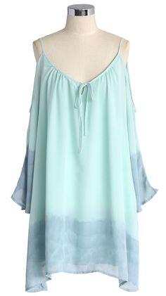 Flowing Mint Dip Dyed Hi-lo Dress