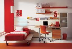 Mood Rocking Bed from Joe Manus: Perfect Choice for Summer Interior Design : Interior Ideas Breathtaking Modern Children S Room By White Wooden Bed With Red Bed Sheet Near Brown Wooden Study Table Placed On The White Floor With Orange Rug Completed Wit Orange Wooden Shelf On T