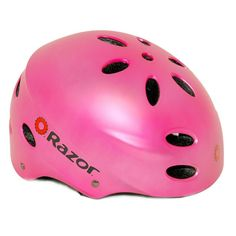 Girls Bike Helmet in Pink.  The Razor V-17 is a multi-sport helmet for youth which comes with extra pads for a secure comfortable fit. It is designed with 17 vents which guarantees that your child's head will be kept cool at all times.