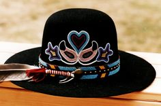 Some of Angela Swedberg's beautiful bead embroidery on a hat http://angelaswedberg.blogspot.com/2009/02/plateau-beaded-cowboy-hats.html