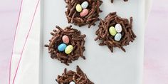 Candy coated chocolate eggs take these nests over the top with cuteness!