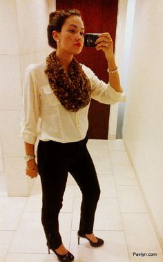 Business casual work outfit. White button up, black skinnies, scarf & heels. Simple but clean.