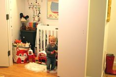 baby's bedroom is a large closet inside this apartment on the upper west side in manhattan / new york city. modern kids by nat the fat rat