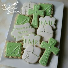 Baptism christening white and mint green decorated sugar cookies