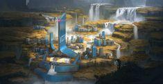 ArtStation - Hydro dam and lighthouse, Lucas Örström Futuristic City, Futuristic Architecture, Landscape Concept, Fantasy Landscape, Environment Concept Art, Environment Design, Sci Fi City, Space Artwork, Spaceship Art