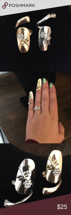 SALE Fingernail rings In fashion finger nail rings with dragonfly design 1 silver 1 gold Jewelry Rings
