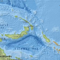 Map showing extent (w,s,e,n) = M7.5 - 55km SE of Kokopo, Papua New Guinea