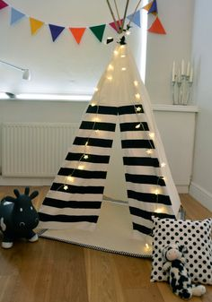 Teepee Play Tent -tipi- Black and White - Monochrome - Poles included JAMES