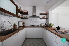 Wonder what house designs similar to Aesop, Calvin Klein, Monocle or IKEA would look like? I like the tiles and the U shaped layout of cabinetry Interior Design Institute, Interior Design Singapore, Wood Kitchen Cabinets, Kitchen Flooring, Home Decor Kitchen, Interior Design Kitchen, Space Kitchen, Kitchen Layout, Kitchen Ideas