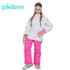 a0ea71192b Phibee Girl Ski Suit Girl Children Clothes Warm Waterproof Windproof  Snowboard Sets Winter Jacket Kids Clothes