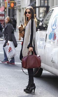Miranda Kerr with a Louis Vuitton bag and Marni Coat