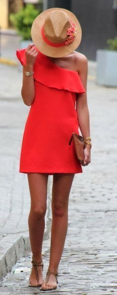 Coral dress.