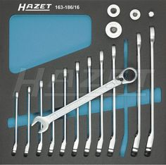 Ratcheting combination wrench set with square adapters - HAZET