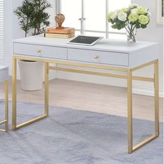 Add a glamorous touch to your workspace with the Acme Furniture Acme Coleen Writing Desk - White . This compact writing desk features a sleek top design. Mesa Home Office, Home Office Space, Home Office Desks, Home Office Furniture, Small Office, White Office, Wood And Metal Desk, Metal Desks, Brass Wood