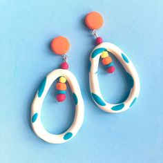 Dangle EarringsDrop StudsWhite with turquoise spots