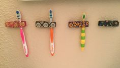 Use Command Hook strips and clothespins to hang toothbrushes on the wall. This is great for apartments and pedestal sinks, or when your toothbrush cup keeps getting knocked over. Toothbrush Organization, Toothbrush Holder Wall, Toothbrush Storage, Rv Organization, Bathroom Organisation, Organizing, Bathroom Window Coverings, Teen Girl Decor, Bathroom Design Layout