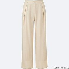 WOMEN CREPE WIDE LEG PANTS, NATURAL, medium