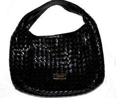 Michael Kors Newbury Black Patent Leather Woven Shoulder bag. Preowned