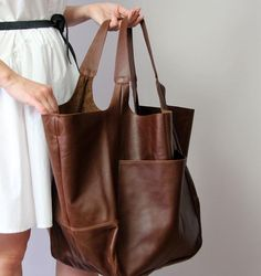 Weekender Oversized bag Large leather tote bag, Slouchy Tote, Brown Handbag for Women, Soft Leather Large Leather Tote Bag, Leather Purses, Leather Bags, Leather Handbags, Sac Lunch, Brown Leather Totes, Soft Leather, Distressed Leather, Natural Leather
