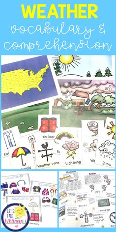 Learn about different types of weather, sort clothing for different weather types, learn vocabulary, study weather instruments, comprehension passages and questions, vocabulary cards, and much more! Sorting Activities, Vocabulary Activities, Vocabulary Cards, Weather Lesson Plans, Weather Lessons, Comprehension Activities, Comprehension Questions, Speech Pathology, Speech Therapy