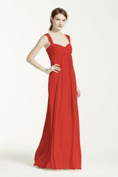 A long soft silhouette translates to atruly elegant look that your bridesmaids will absolutely love!  Sleeveless bodice with cap sleeves features sweetheart neckline with ruched twist front detail.  Floor length soft crinkle chiffoneasilyflowsand gives this dress an ethereal feel.  Fully lined. Back zip. Imported Polyester. Dry clean only.